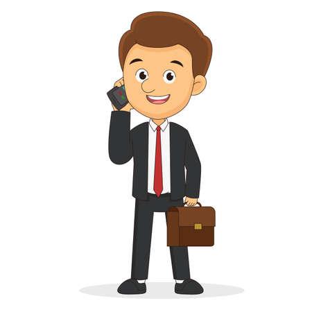 Business man talking on a cellphone in a office workplace Vektorové ilustrace