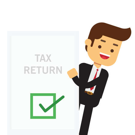 Businessman holds in his hand a tax declaration