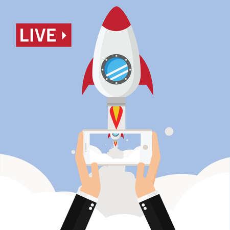 Video streaming on smartphone Vector Illustration