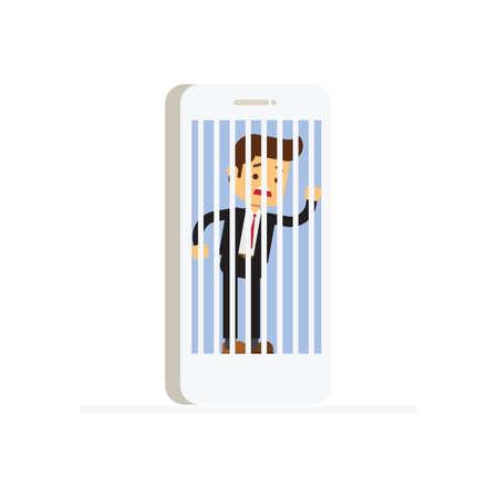 businessman hostage of modern technologies