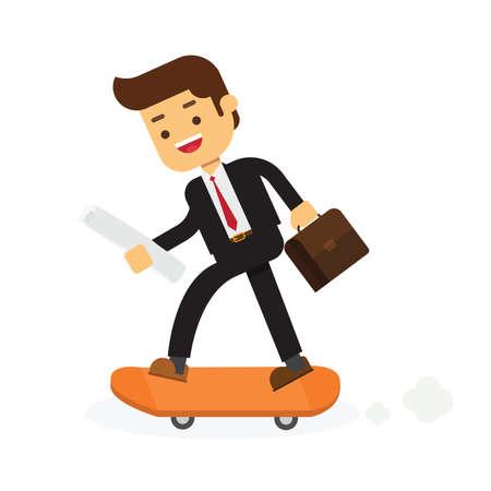 Businessman on skateboard with briefcase Vector Illustration