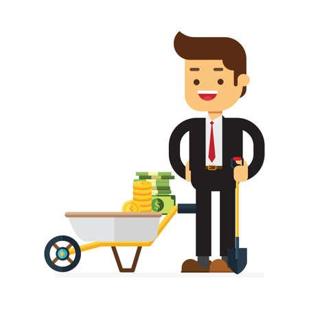 businessman standing on the shovel next to wheelbarrow full of cash dollar