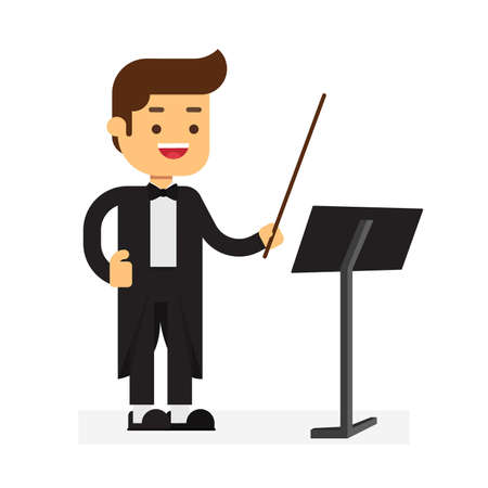 Man character avatar icon.a orchestra director