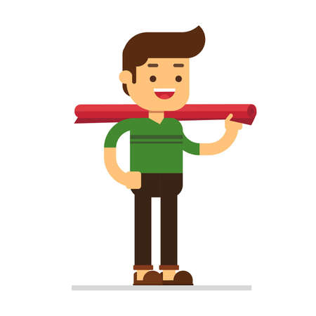 Man character avatar icon.Man carrying rolled carpet
