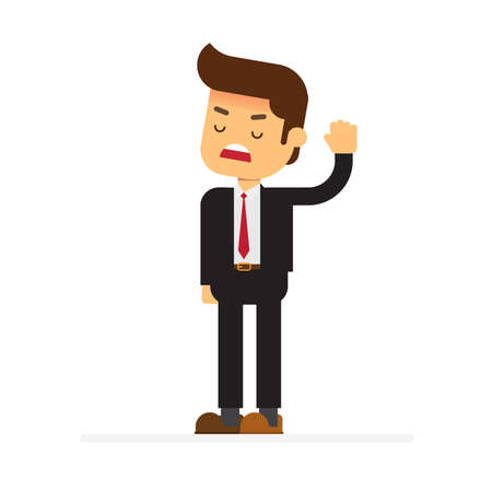 Angry strict boss standing and rejecting something with stop hand gesture