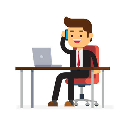 Businessman sitting in the office calling with smartphone