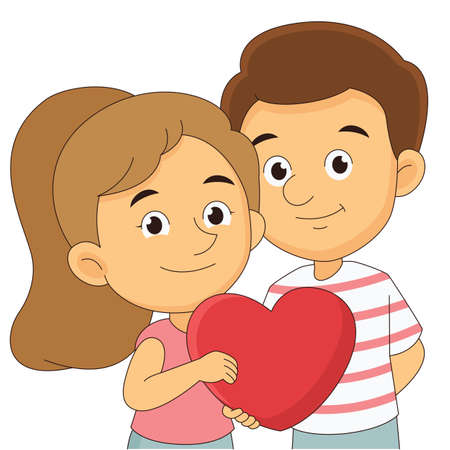 Couple on valentine day,holding big heart
