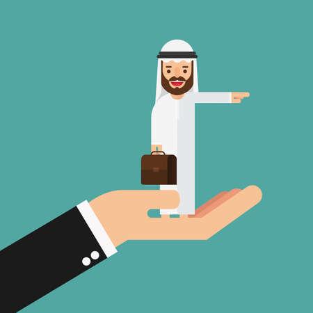 Arabic Business man looking binoculars on big hand