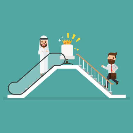Arab businessman and businessman who use escalator to success