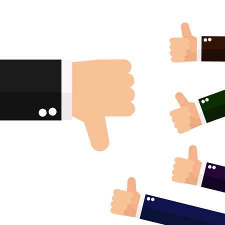 Many hands with thumbs up but get one dislike feedback from the boss Vector Illustration