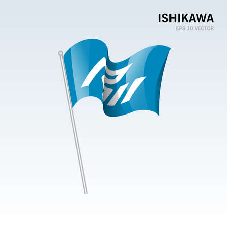 Waving flag of Ishikawa prefectures of Japan isolated on gray background