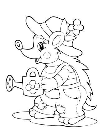 irrigate: Illustration of the hedgehog worker