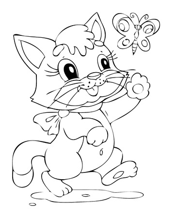 Illustration of the happy playful cat Vector