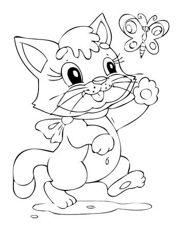 joyous life: Illustration of the happy playful cat