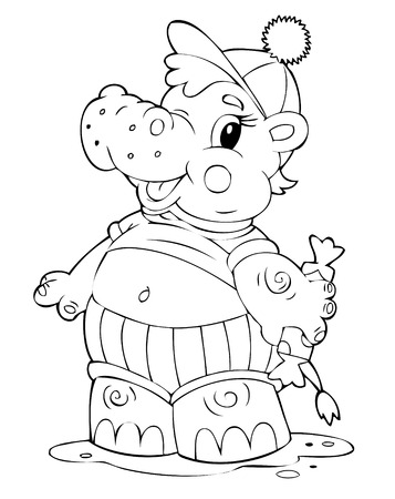 illustration of the beautiful hippopotamus