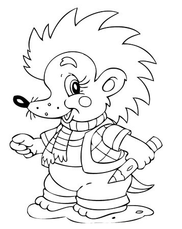 illustration of the amusing hedgehog painter Vector