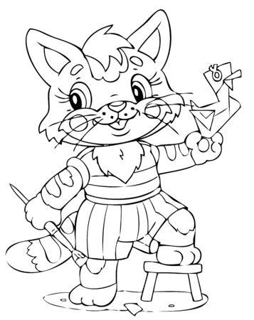 illustration of the little cat decorator Vector