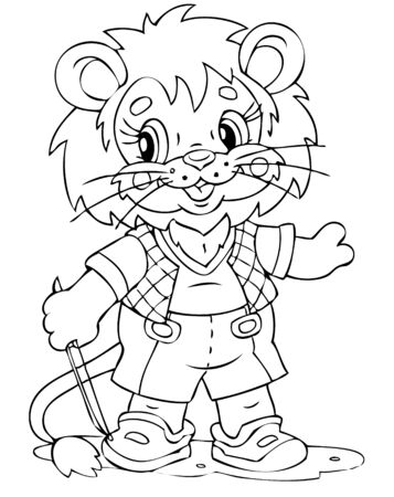 illustration of the amusing lion musician Vector