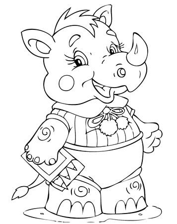 ejemplo de la pequeña rinoceronte pintor Ilustración de vector