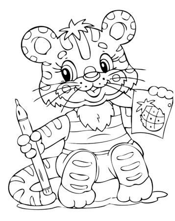 illustration of the little tiger painter Stock Vector - 4317170