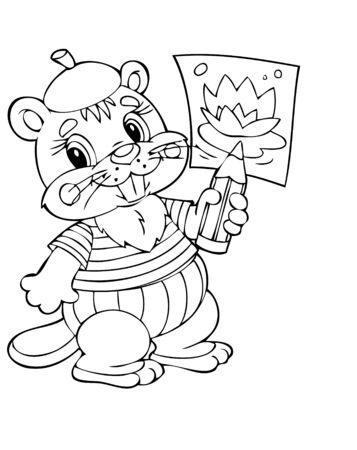 illustration of the amusing beaver painter Vector