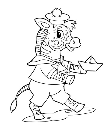 Illustration of the happy playful zebra Vector
