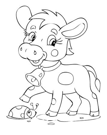 vaca caricatura: Ilustraci�n de la vaca juguetona Vectores