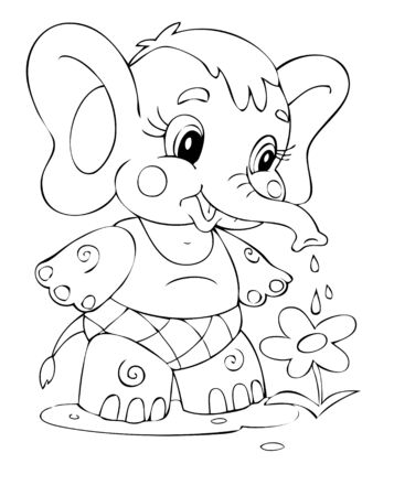outline drawing: Illustration of the elephant worker Illustration