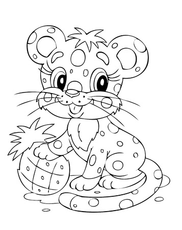 silueta tigre: Ilustraci�n de la divertida tigre