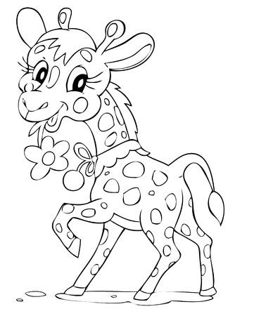 africa outline: illustration of the beautiful giraffe Illustration