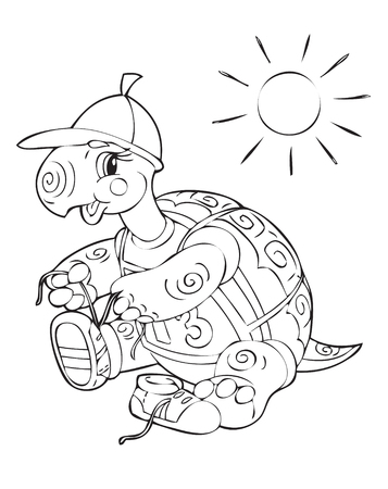 Illustration of the amusing turtle traveller Vector