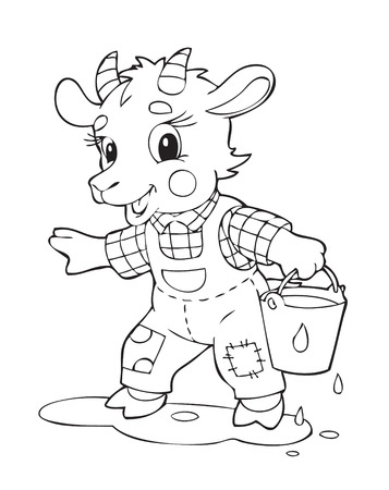 Illustration of the goat worker Vector