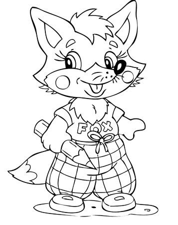 illustration of the little fox painter Stock Vector - 4514444