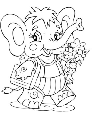 illustration of the amusing elephant schoolboy Vector