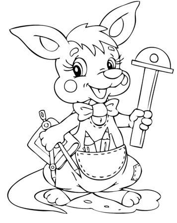 illustration of the little kangaroo engineer Vector