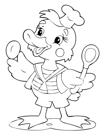 illustration of the little duck cook