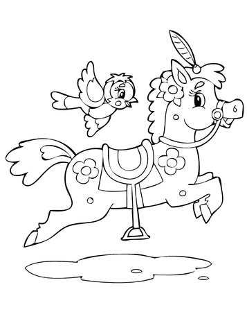 saddle: illustration of the happy playful horse Illustration