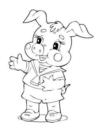 hog: illustration of the amusing playful pig
