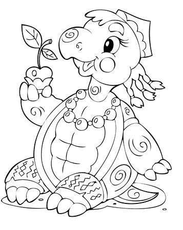 joyous life: illustration of the amusing playful turtle Illustration
