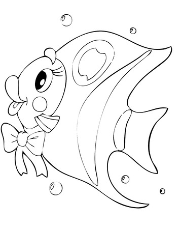 outline drawing of fish: illustration of the beautiful fish