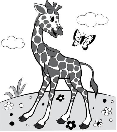 giraffe silhouette: illustration of the amusing giraffe