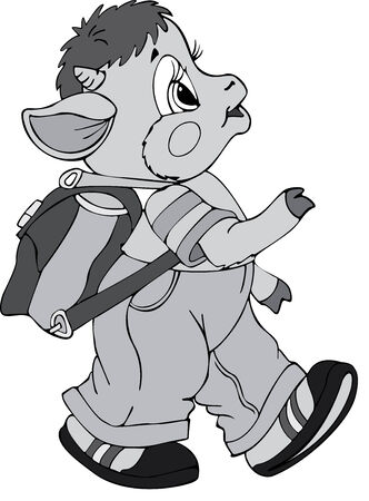 Illustration of the little goat schoolboy Vector