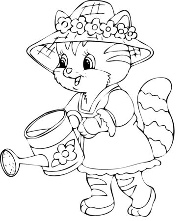 bonnet illustration: Illustration of the cat worker