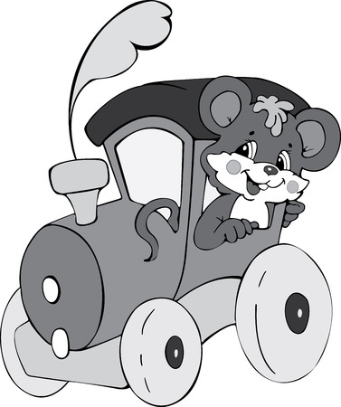 Illustration of the amusing mouse by locomotive Vector