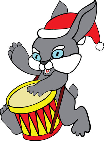Illustration of the hare with drum Vector