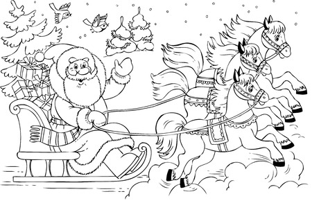 horse sleigh: Illustration of the Santa Claus in a sledge