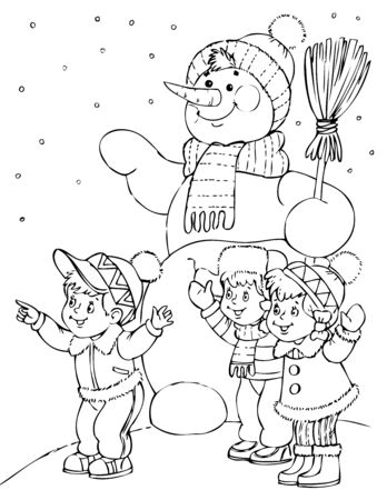amusing: illustration of the amusing snow man Illustration