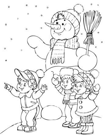 snow man: illustration of the amusing snow man Illustration