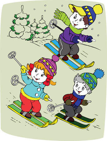 illustration of the children by skis Stock Vector - 6267993