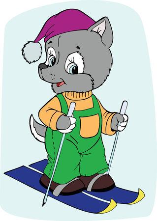 illustration of the amusing dog skier Vector